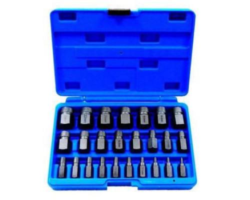 Набор бит-экстракторов для извлечения поврежденных болтов 25пр.  (M3.5-M4-M5.5,M6.5-M7.5-M11.5,M12-M