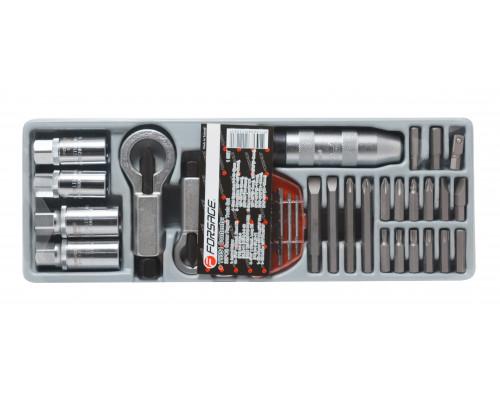 Набор для откручивания поврежденных болтов,гаек и шпилек 33пр. в лотке