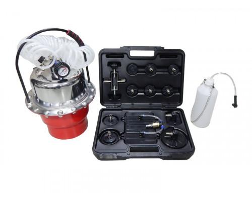 Приспособление для замены тормозной жидкости пневматическое  с набором крышек-переходников для расши