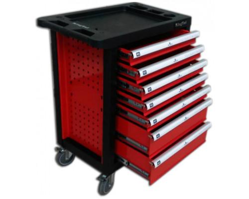 Тележка инструментальная 7-и полочная(красная) укомплектованная инструментом 220пр с пластиковой защ