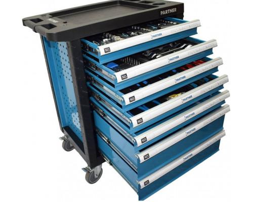 Тележка инструментальная 7-и полочная(синяя) укомплектованная инструментом 220пр с пластиковой защит