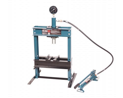 Пресс настольный гидравлический с манометром и выносным насосом 12т (раб. высота: 0-340мм, раб. шири