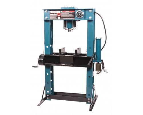 Пресс гидравлический напольный 45т, ручной/пневмо привод  (рабочая высота: 0-865мм, рабочая ширина: