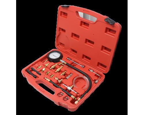 Тестер давления топлива в комплекте с резьбовыми адаптерами переходниками 20пр.(0-10Bar), в кейсе