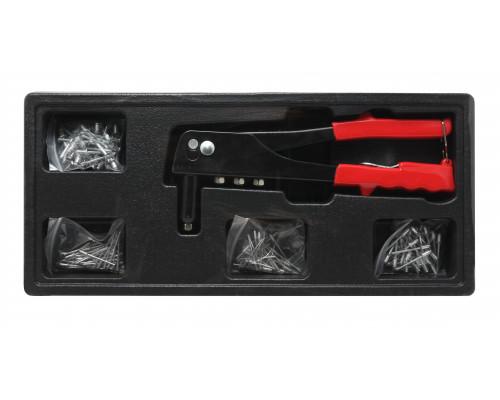 Заклепочник ручной механический с комплектом заклепок (1.2, 1.4, 2, 2.4мм), в лотке