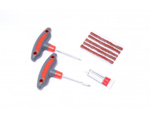 Набор инструментов для ремонта шин 8пр.(шило и протяжка с прорезиненными рукоятками,шнуры,клей), в б