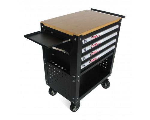 Тележка инструментальная 4-полочная(черная)с деревянной столешницей+2боковые перфорации и лоток,450х