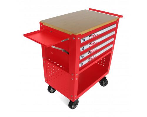 Тележка инструментальная 4-полочная(красная)с деревянной столешницей+2боковые перфорации и лоток,450