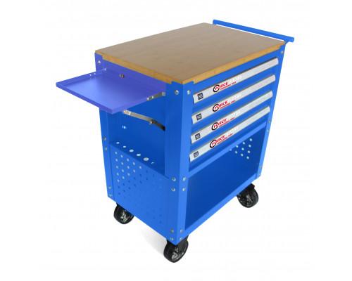 Тележка инструментальная 4-полочная(синяя)с деревянной столешницей+2боковые перфорации и лоток,450х7