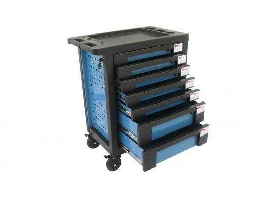 Тележка инструментальная 7-и полочная(синяя) с пластиковой защитой корпуса+2боковые перфорации,460х7