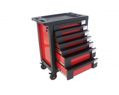 Тележка инструментальная 7-и полочная(красная) с пластиковой защитой корпуса+2боковые перфорации,460