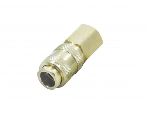 """Быстроразъем пневматический с клапаном с внутренней резьбой 1/2"""" (латунь)"""