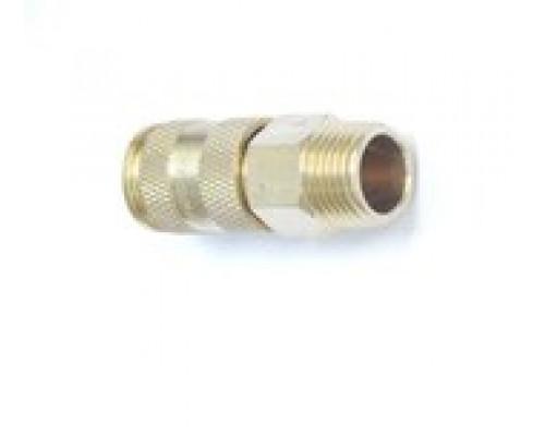 """Быстроразъем пневматический с клапаном-наружняя резьба 1/2"""" (латунь)"""