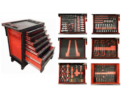 Тележка с набором инструментовCr-V 248пр,(красная)с пластиковой защитой корпуса+2боковые перфорации4
