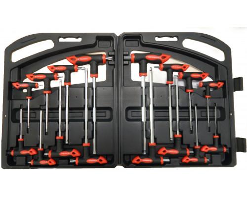 Набор ключей Т-образных TORX/6-гранныхс шаром,16пр.(Н:2,2.5х75,  3,4х100, 5,6х150, 8,10х200мм; Т:10,