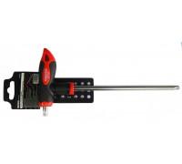 Ключ Т-образный TORX с прорезиненной рукояткой T20х100мм, на пластиковом держателе