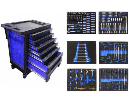 Тележка с набором инструментовCr-V 248пр,(синяя)с пластиковой защитой корпуса+2боковые перфорации460