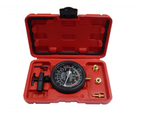 Тестер давления топлива и вакуума  в комплекте с резьбовыми адаптерами-переходниками, в кейсе