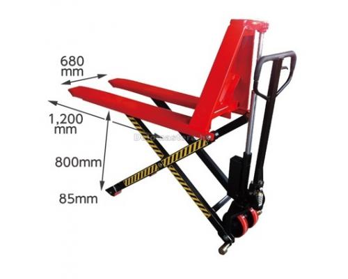 Тележка гидравлическая для перевозки, поднятия и опускания грузов на паллетах 1.5т