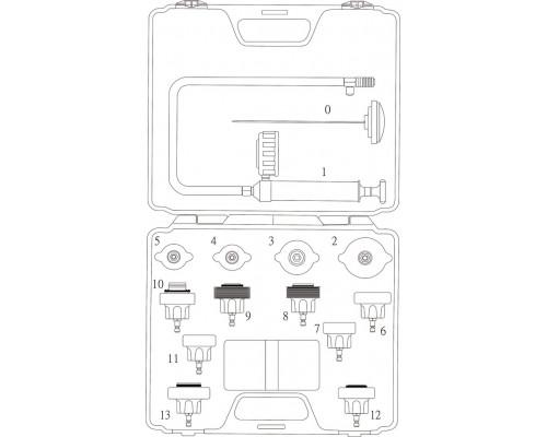 Набор инструментов для тестирования герметичности системы охлаждения 14 предметов в кейсе JTC