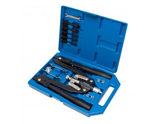 Заклепочник механический двуручный складной 3в1, 14пр(L-520мм, заклепки 3.2-6.4мм, резьбовые заклепк