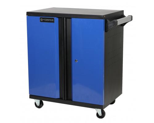 Тележка инструментальная 2-х полочная+2 двухстворчатых шкафа и перфорация(1530х660х450мм, шкафы 670х