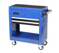 Тележка инструментальная 2-х полочная с раздвижным столом и ящиком+2 боковые перфорации (840х700х370