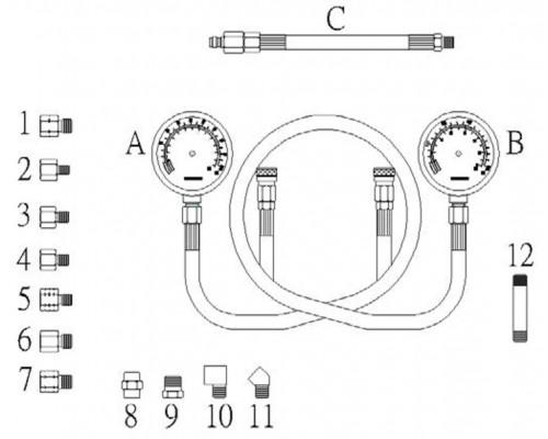 Тестер давления масла КПП с двумя манометрами в кейсе JTC