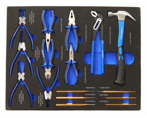 Набор шарнирно-губцевого и ударного инструмента16пр(съемники стоп.-х колец,утконосы,бокорезы,плоскоу