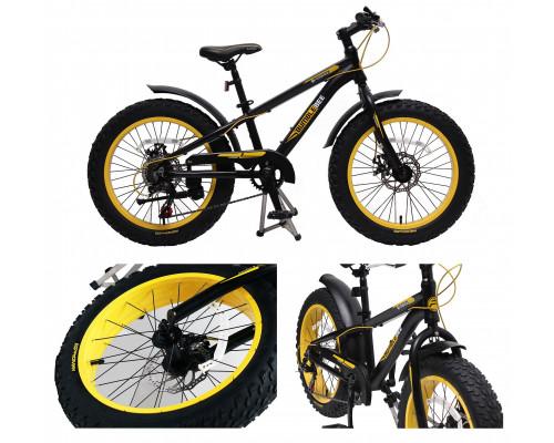 """Велосипед подростковый Фэтбайк(рама:алюм.,Ø колес:20"""",7 скоростей, диск. тормоза перед/зад, покрышки"""