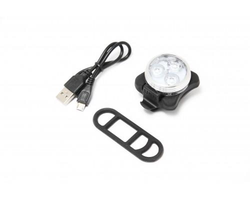 Фонарь LED передний круглый велосипедный (белый, 4 режима)