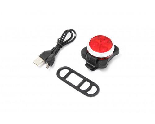 Фонарь LED задний круглый велосипедный (красный, 4 режима)