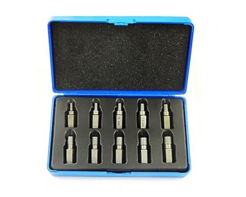 Набор бит-экстракторов для извлечения поврежденных болтов 10пр. (M3.5-M4-M5-M6-M6.5-M7.5-M8-M9-M10-M
