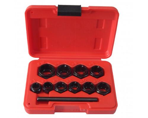Набор головок-экстракторов для извлечения поврежденных болтов 10пр.(9,10,11,12,13,14,15,16,17,19мм),