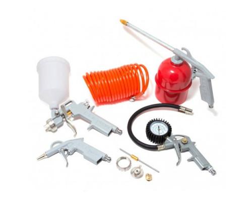 Набор пневмоинструмента 5пр. (краскопульт-сопло 1.5мм+доп.сопло 2.0мм,обдувочник,подкачка,промывка+ш
