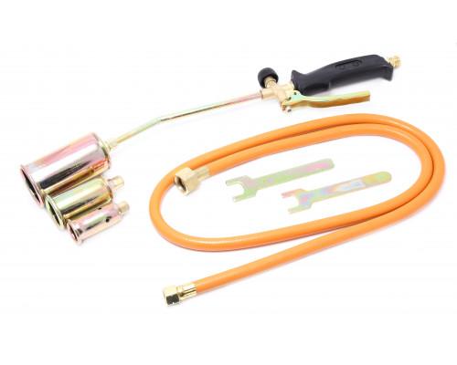 Горелка газовая с насадками и гибким шлангом (насадки-25,35,50мм; L-390мм;L шланга-1.5м) на блистере