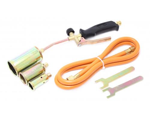 Горелка газовая с насадками и гибким шлангом (насадки-25,35,50мм; L-390мм; L шланга-1.5м) в блистере