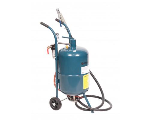 Передвижной пескоструйный аппарат напорного типа (бак 38л, 170-710л/мин, 4-8,5атм) пневмо.