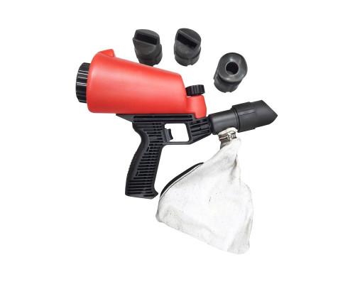 Пескоструйный пистолет со встроенной емкостью для песка 1л и резиновыми насадками (4шт)