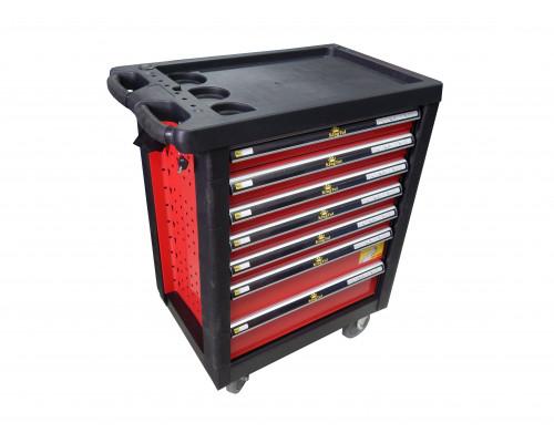 Тележка инструментальная 7-ми полочная (красная) с пластиковой защитой корпуса + перфорация