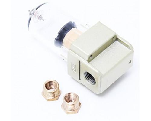 """Фильтр для пневмосистемы мини 1/4"""" + резьбовой адаптер 1/4Mx1/8F (пропускная способность: 200 л/мин,"""